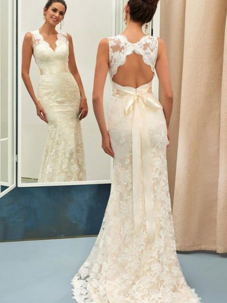Trumpet/Mermaid Lace Sash/Ribbon/Belt V-neck Sleeveless Sweep/Brush Train Wedding Gowns