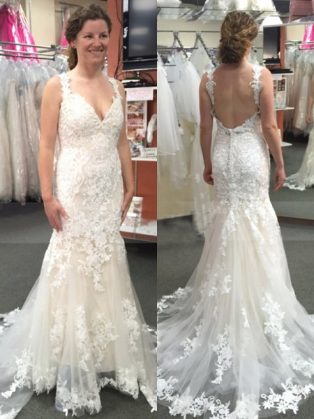 Trumpet/Mermaid Tulle Applique Straps Sleeveless Sweep/Brush Train Wedding Gowns