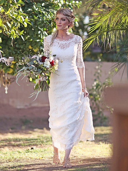 Sheath/Column Lace Bateau 1/2 Sleeves Sweep/Brush Train Wedding Gowns