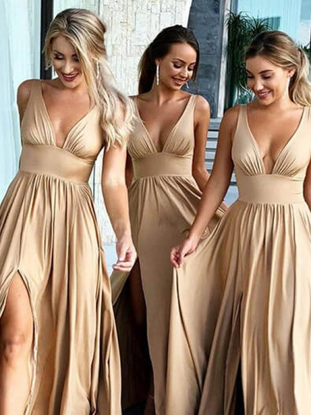 A-Line/Princess V-neck Sleeveless Sweep/Brush Train Ruffles Silk like Satin Bridesmaid Dress