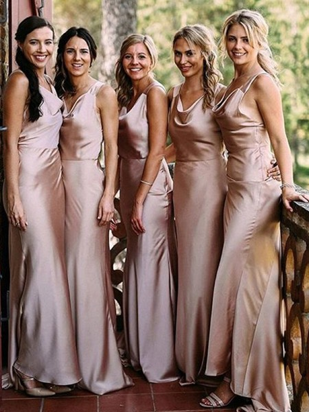 Sheath/Column V-neck Sleeveless Floor-Length Silk like Satin Bridesmaid Dress