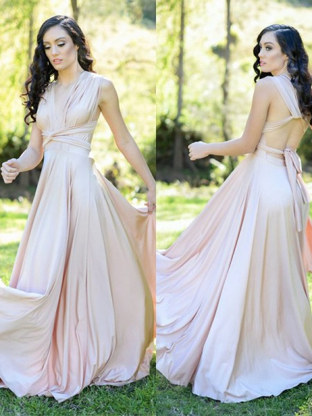 A-Line/Princess Silk like Satin Ruffles V-neck Sleeveless Floor-Length Bridesmaid Dress