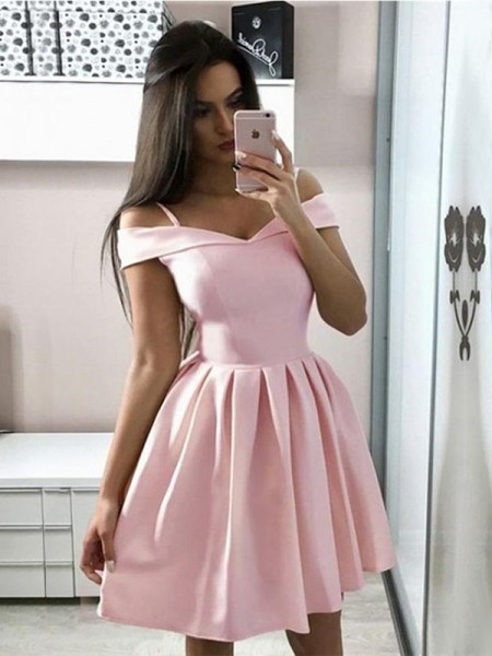 A-Line/Princess Satin Ruffles Off-the-Shoulder Sleeveless Short/Mini Dress