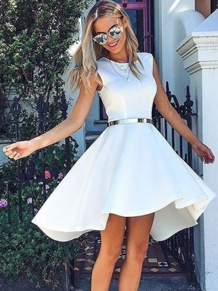 A-Line/Princess Satin Sash/Ribbon/Belt Scoop Sleeveless Short/Mini Dress