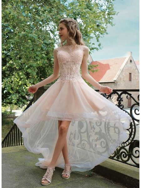 A-Line/Princess Tulle Applique Sheer Neck Sleeveless Asymmetrical Dress