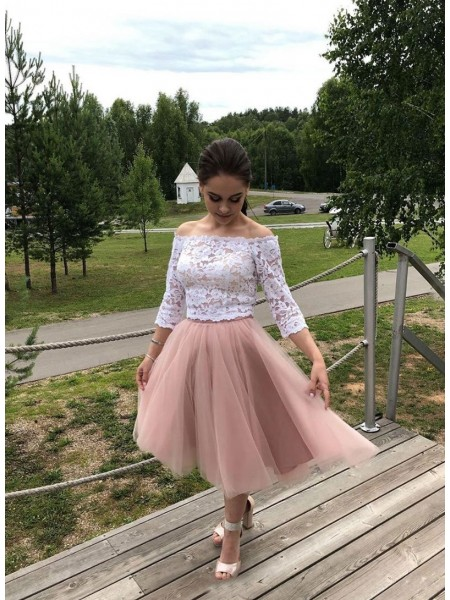 A-Line/Princess Tulle Lace Off-the-Shoulder Long Sleeves Tea-Length Dress