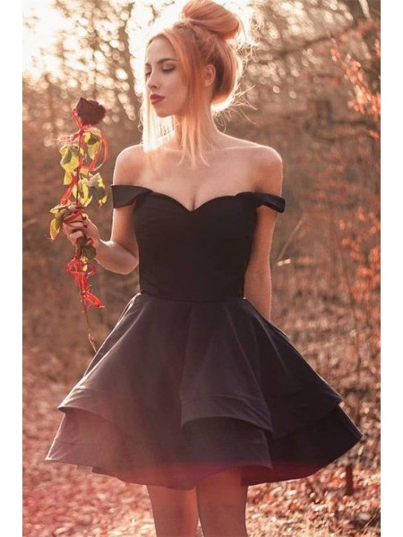 A-Line/Princess Spandex Ruffles Off-the-Shoulder Sleeveless Short/Mini Dress