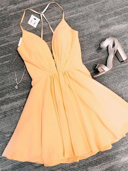 A-Line/Princess Chiffon V-neck Sleeveless Ruffles Short/Mini Dress