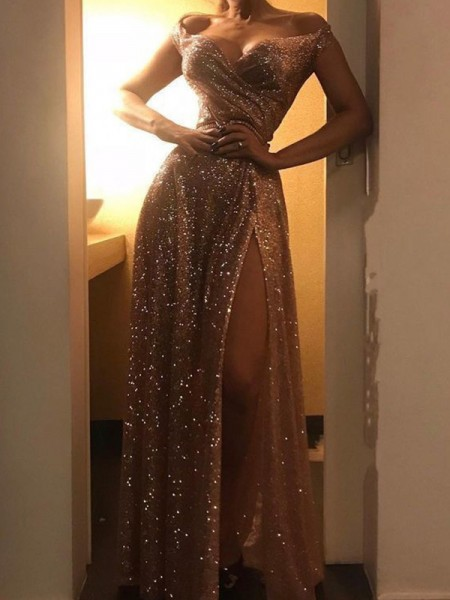 A-Line/Princess Sequins Ruched Off-the-Shoulder Sleeveless Long Dresses