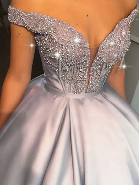 Ball Gown Beading Satin Off-the-Shoulder Sleeveless Long Dresses