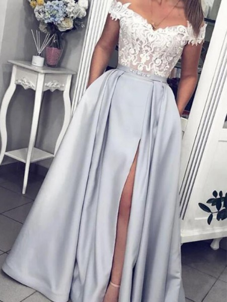 A-Line/Princess Satin Lace Sleeveless Off-the-Shoulder Long Dresses