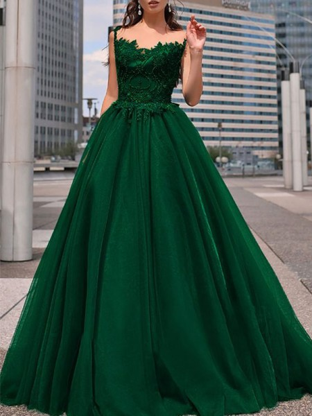 A-Line/Princess Bateau Tulle Beading Long Sleeveless Dresses