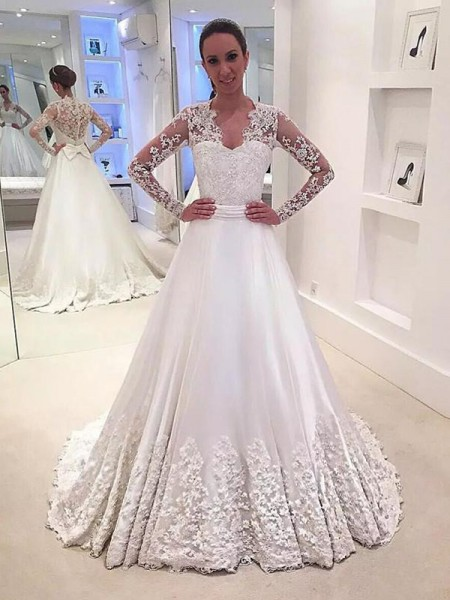 A-Line/Princess V-neck Satin Sweep/Brush Train Wedding Dress