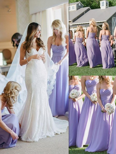 A-Line/Princess Chiffon Floor-Length Sweetheart Bridesmaid Dress