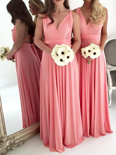 A-Line/Princess V-neck Floor-Length Spandex Bridesmaid Dress