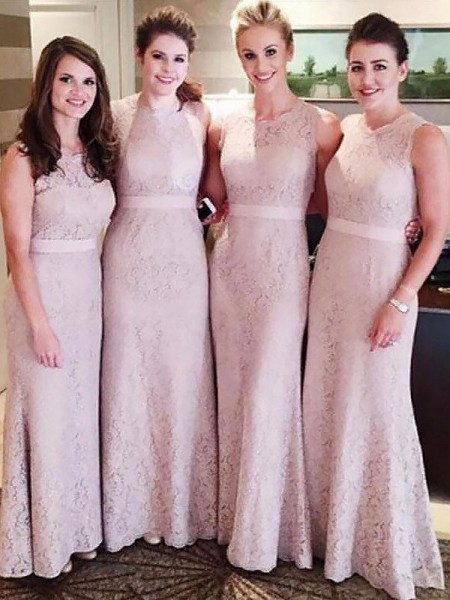 Sheath/Column Lace Scoop Floor-Length Bridesmaid Dress