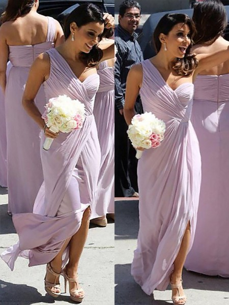 A-Line/Princess One-Shoulder Chiffon Ruched Floor-Length Bridesmaid Dress