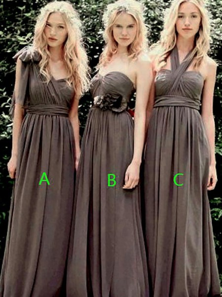 A-Line/Princess Chiffon Floor-Length Bridesmaid Dress