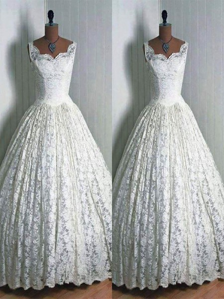 Ball Gown Lace Sweetheart Floor-Length Wedding Dress