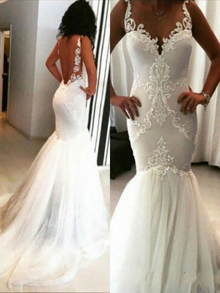 Trumpet/Mermaid Chapel Train Spaghetti Straps Tulle Applique Wedding Dress