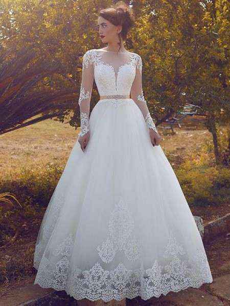 Ball Gown Bateau Tulle Floor-Length Wedding Dress