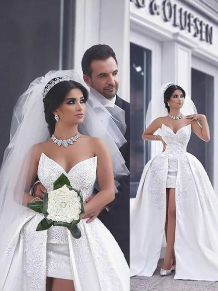 Ball Gown Satin Chapel Train Sweetheart Wedding Dress