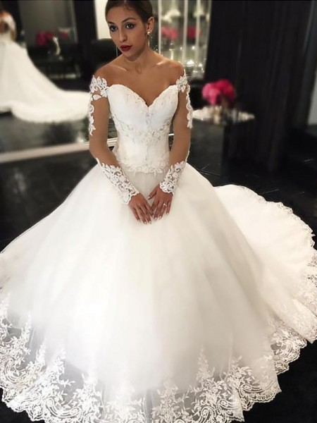 Ball Gown Tulle Off-the-Shoulder Court Train Applique Wedding Dress
