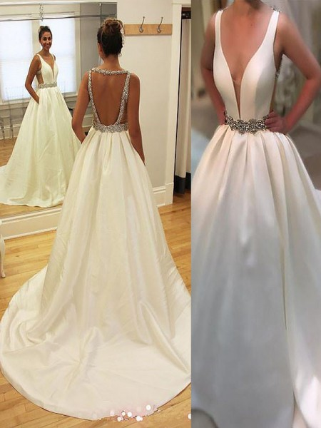 A-Line/Princess Court Train Satin V-neck Wedding Dress