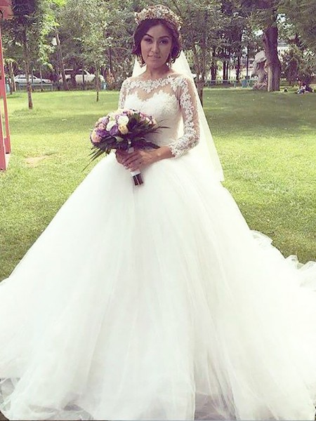 Ball Gown Tulle Bateau Court Train Wedding Dress