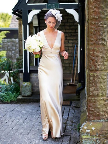 Sheath/Column Satin V-neck Floor-Length Wedding Dress