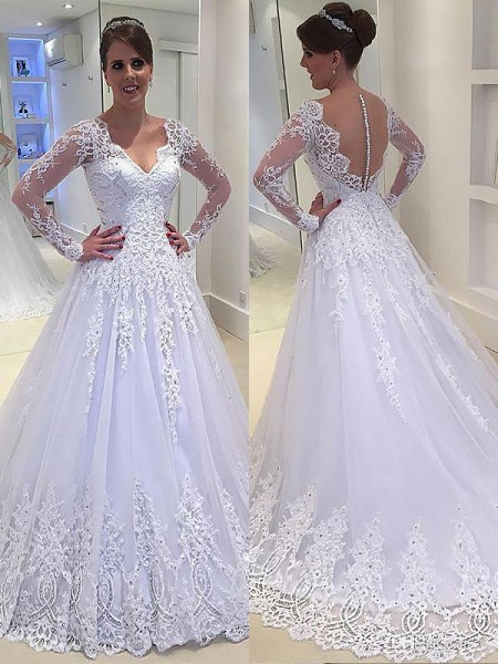 A-Line/Princess Tulle V-neck Court Train Applique Wedding Dress