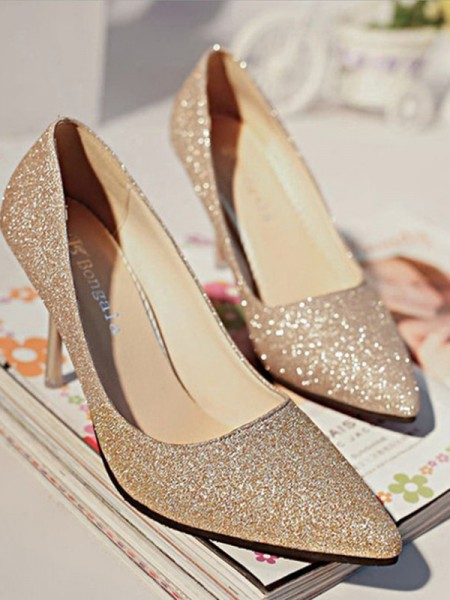 Sparkling Glitter Closed Toe High Heels Stiletto Heel