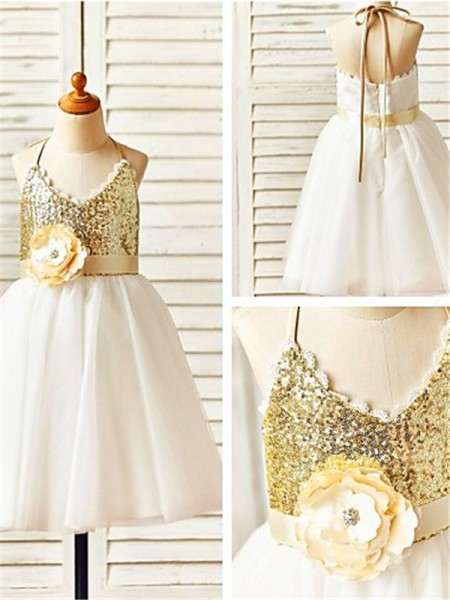 A-line/Princess Halter Tea-Length Sequin Tulle Flower Girl Dress