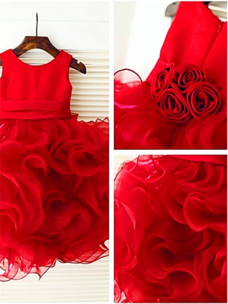 Ball Gown Scoop Layers Knee-Length Organza Little Girl Dresses