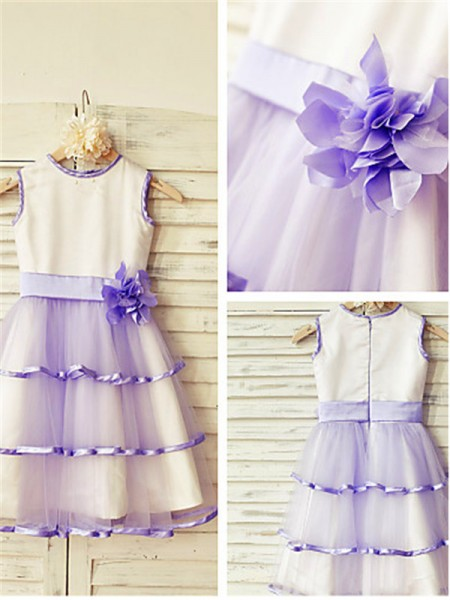 A-line/Princess Scoop Hand-made Flower Tea-Length Tulle Kids Dresses