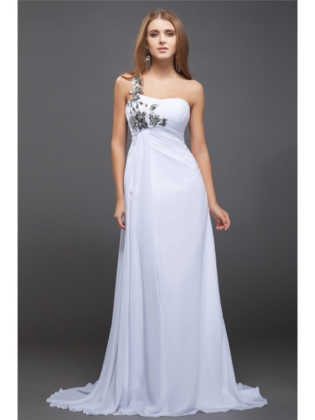 A-Line/Princess One-Shoulder Sequin Lace Chiffon Dress