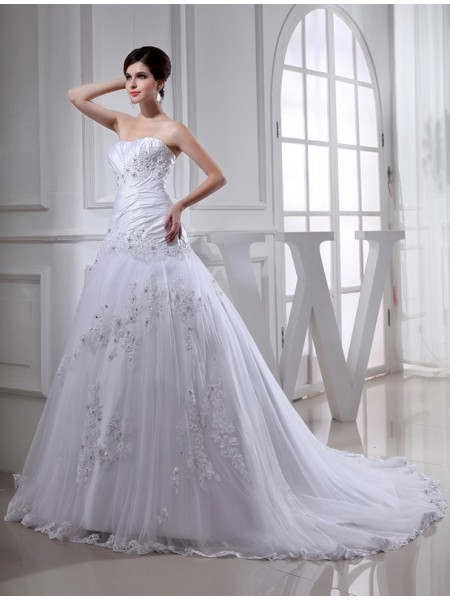 A-Line/Princess Long Strapless Tulle Taffeta Wedding Dress