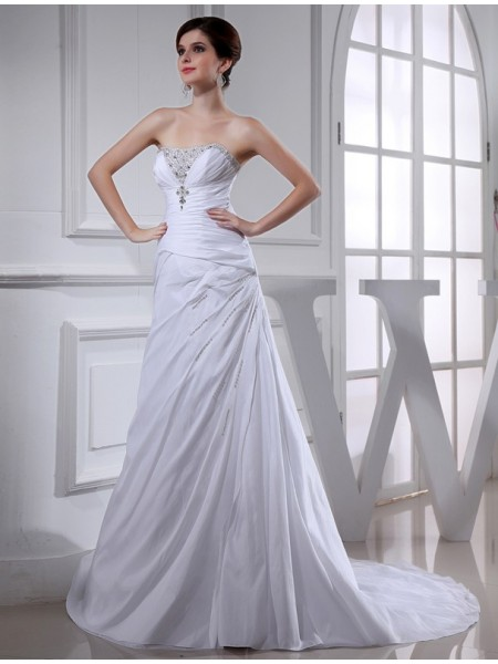 A-Line/Princess Long Taffeta Wedding Dress