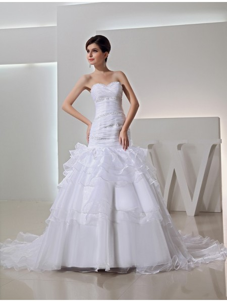 Trumpet/Mermaid Sweetheart Long Organza Wedding Dress