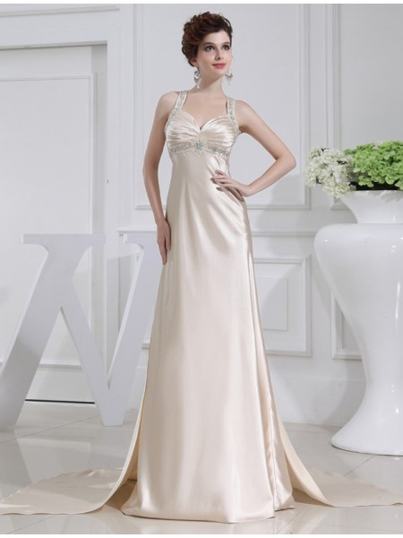 A-Line/Princess Elastic Woven Satin Dress