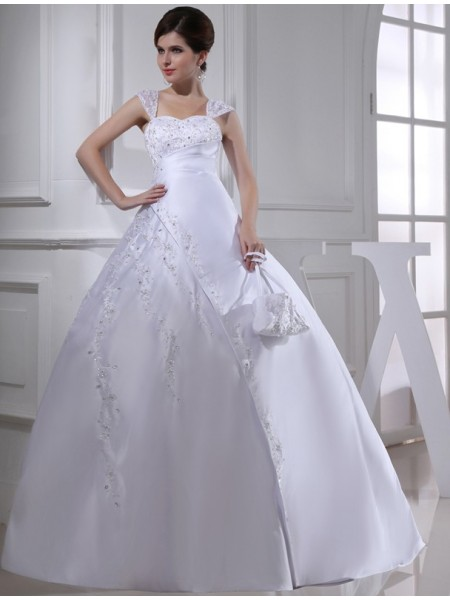 Ball Gown Straps Long Satin Wedding Dress