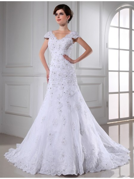 A-Line/Princess V-neck Long Organza Wedding Dress