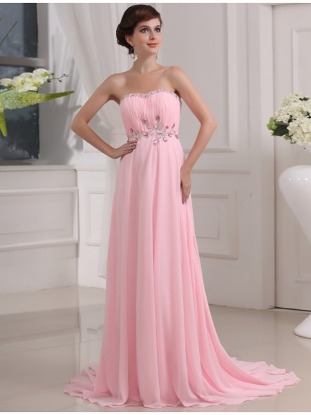 A-Line/Princess Strapless Chiffon Dress