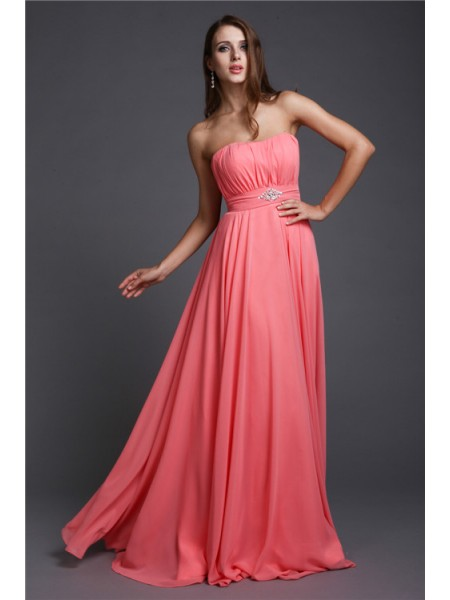A-Line/Princess Strapless Long Bridesmaid Dress