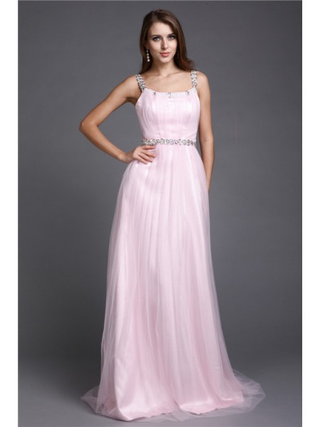 A-Line/Princess Spaghetti Straps Rhinestone Long Net Dress