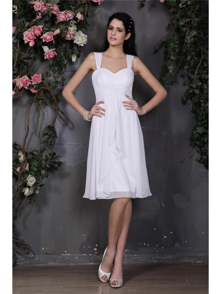 Sheath/Column Straps Pleats Short Chiffon Bridesmaid Dress