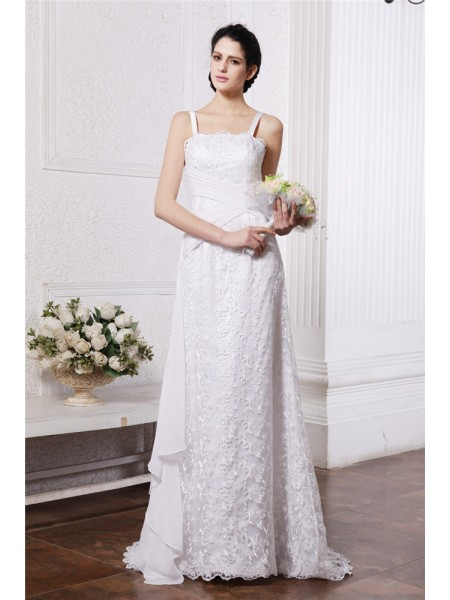 Sheath/Column Square Neck Ruffles Ruched Chiffon Net Wedding Dress