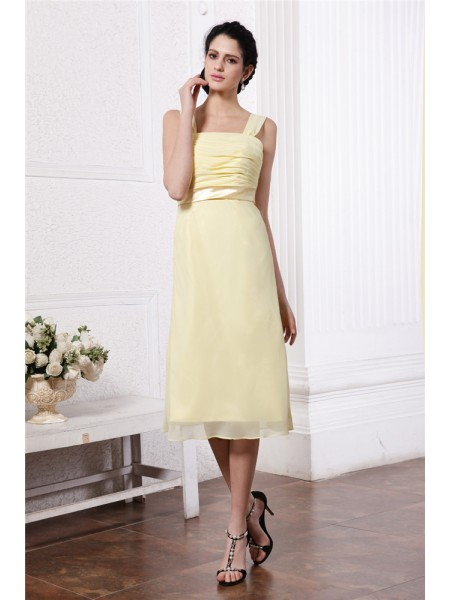 Sheath/Column Straps Sash Pleats Short Chiffon Bridesmaid Dress