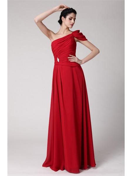 Sheath/Column One-Shoulder Pleats Chiffon Dress