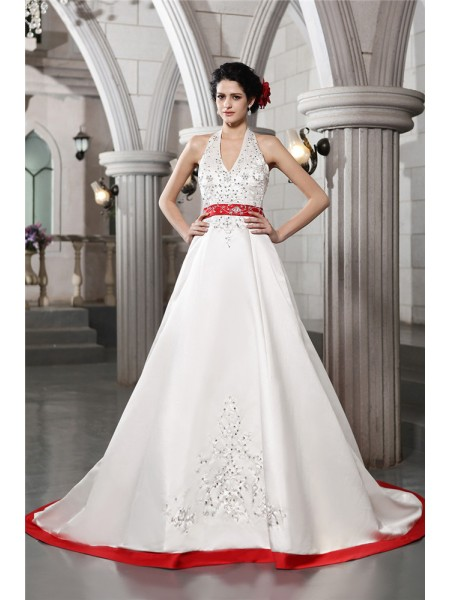 A-Line/Princess V-neck Embroidery Long Satin Wedding Dress